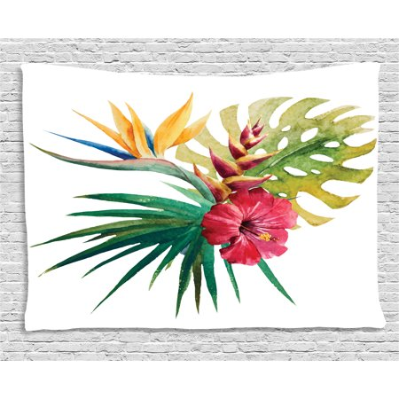 Leaf Orchid Flower - Floral Decor Tapestry, Wild Tropical Orchid Flower with Large Leaves Exotic Petals Picture, Wall Hanging for Bedroom Living Room Dorm Decor, 80W X 60L Inches, Ruby Forest Green, by Ambesonne