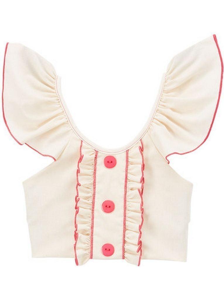 Little Girls Ivory Fuchsia Flutter Sleeve Ruffle Trim Button Cotton Shirt