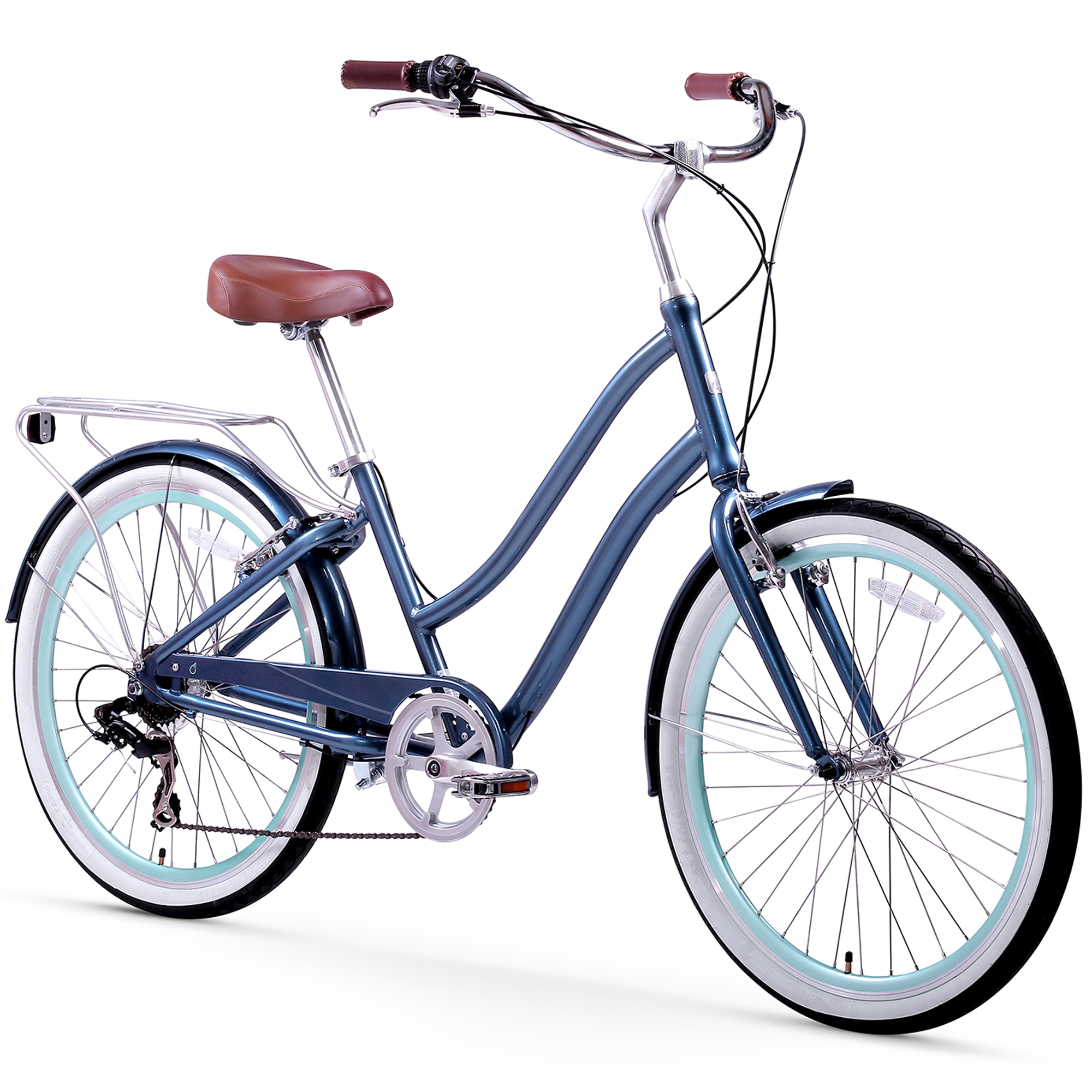 "26"" sixthreezero Women's EVRYjourney Seven Speed Step-Through Touring Hybrid Bicycle, Navy"