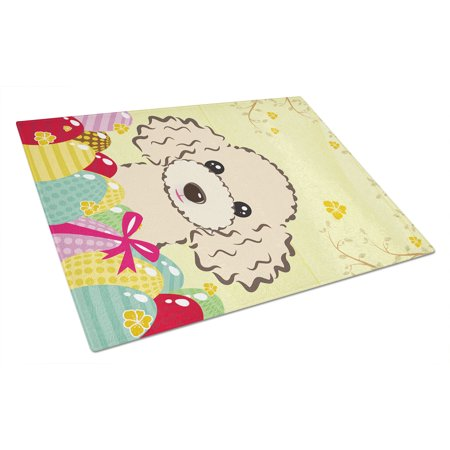 Caroline's Treasures Buff Poodle Easter Egg Hunt Glass Cutting Board (What Are Buffs Glasses)