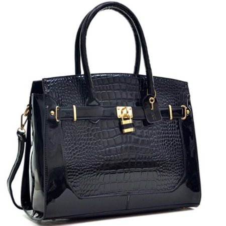 (Dasein  Patent Faux Croco Embossed Leather Padlock Large Satchel)
