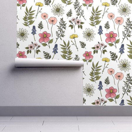 Peel And Stick Removable Wallpaper Baby Girl Floral Nursery Floral Baby Girl