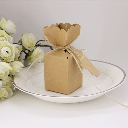 50 Pcs Creative Wedding Favors Candy Boxes Vase Style Rustic Kraft