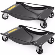 XtremepowerUS Set of 2-Pieces Tire Skates Swivel Moving Wheel Dolly Ball Skate Jack Shop Lift, Black