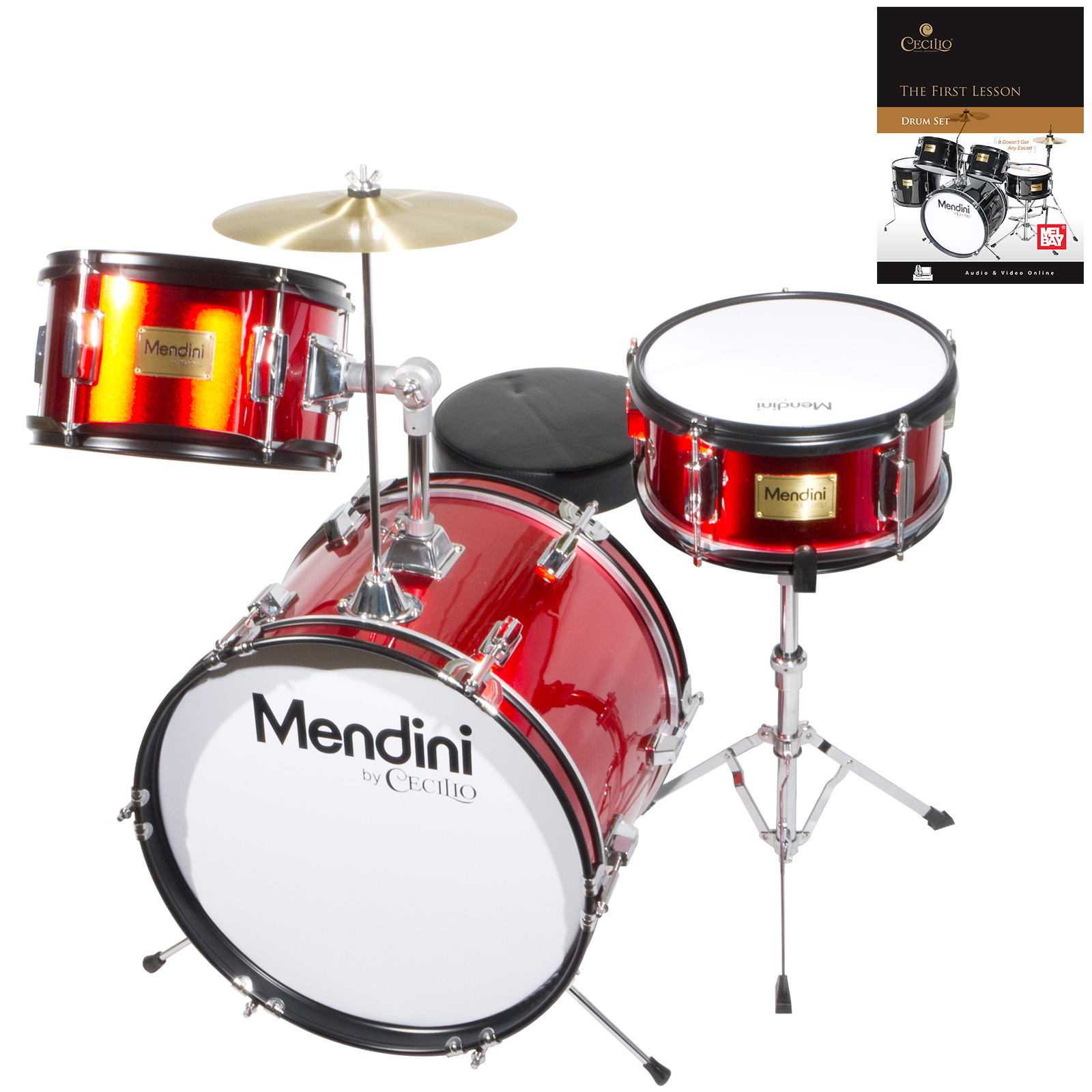 "Mendini by Cecilio 16"" 3-Piece Kids / Junior Drum Set with Adjustable Throne, Cymbal, Pedal, Drumsticks & Lesson Book, Metallic Red, MJDS-3-BR"