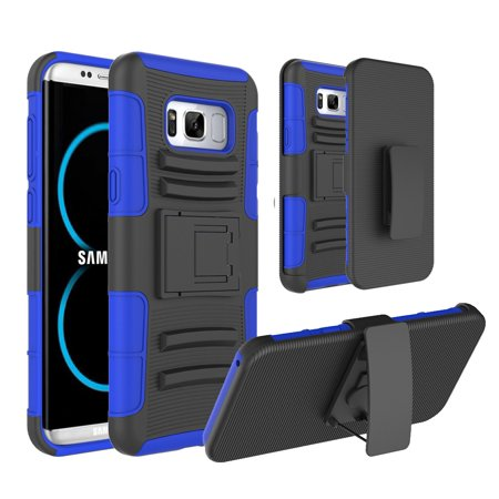 MINI-FACTORY Samsung Galaxy S8 Armor Case Holster [Belt Clip] [Kickstand] Combo Defender Full Body Protection Cover for Samsung Galaxy S8 (2017) - Blue