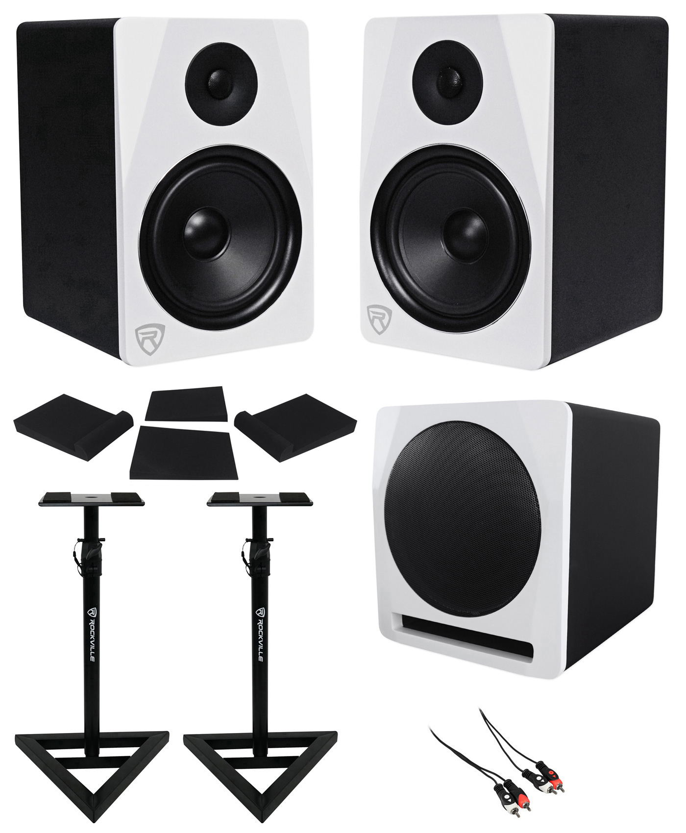 "(2) Rockville APM8W 8"" Powered Studio Monitors+Active 10"" Subwoofer+Stands+Pads by ROCKVILLE"