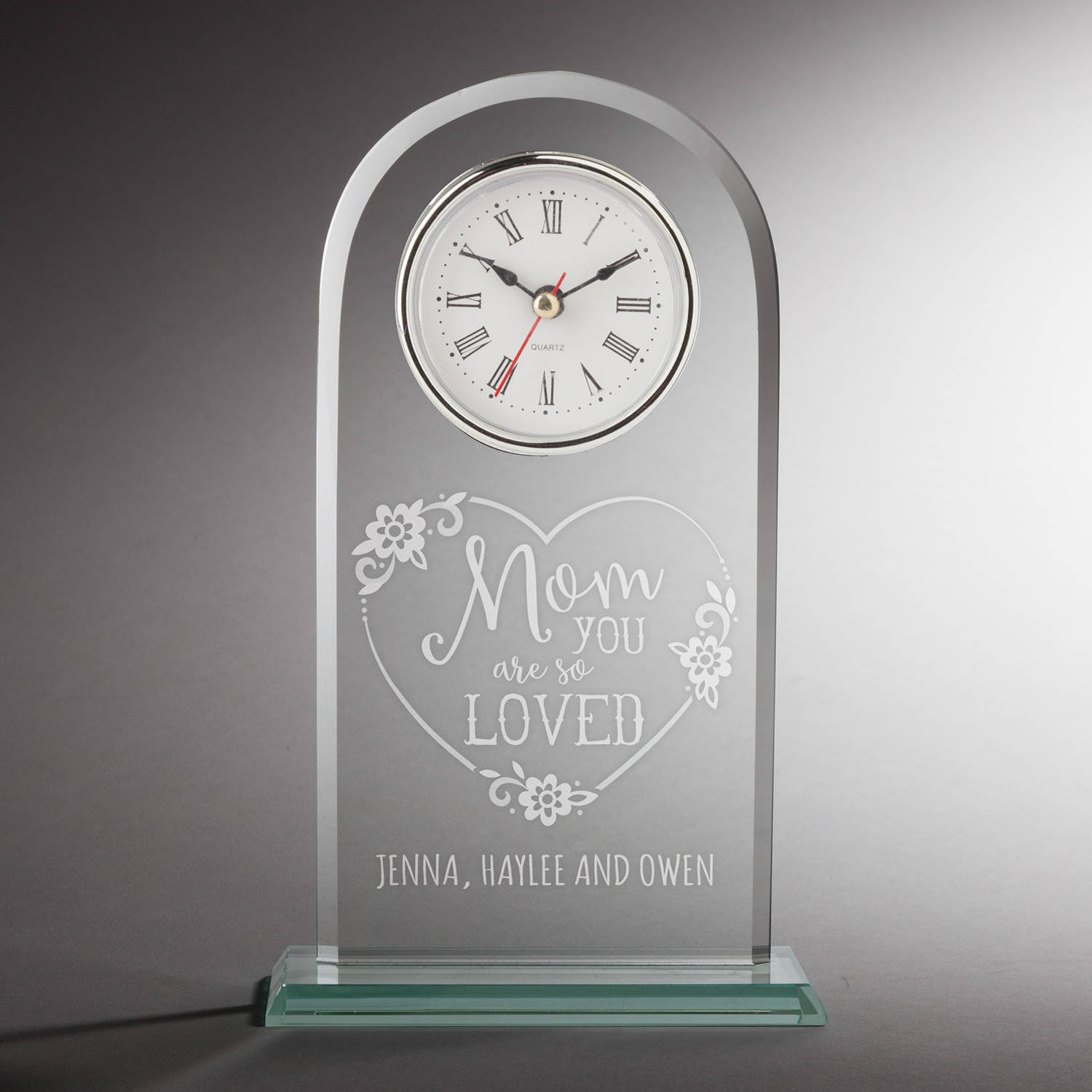 Mom You Are So Loved Personalized Glass Clock