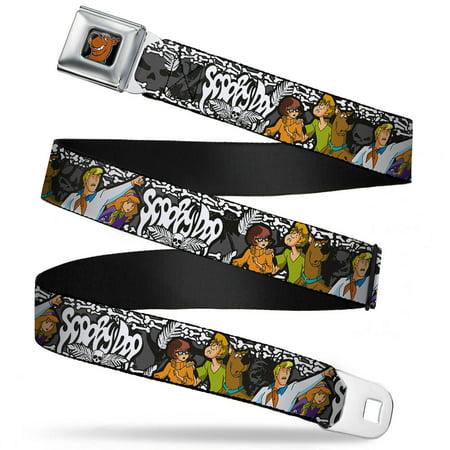 Scooby Doo Face Full Color Black Scooby Doo Group Pose Bones Webbing Seatbelt Belt Standard