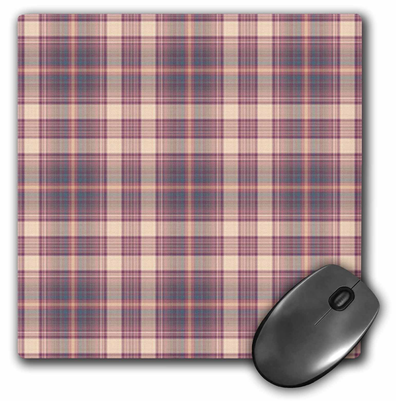 3dRose Blush Pink n Raspberry n Blue Plaid, Mouse Pad, 8 by 8 inches