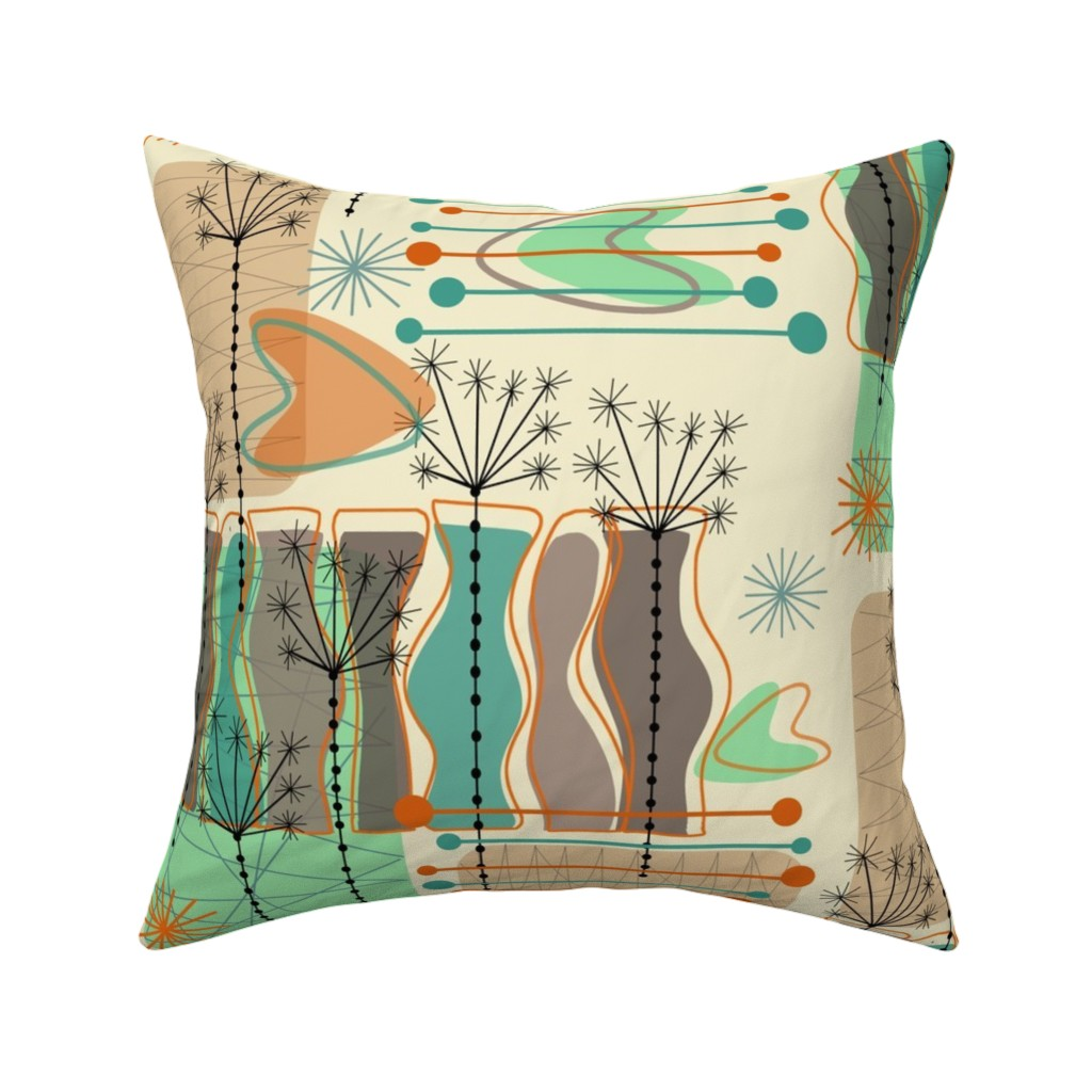 Art Deco Abstract Plant Lines Throw Pillow Cover w Optional Insert by Roostery