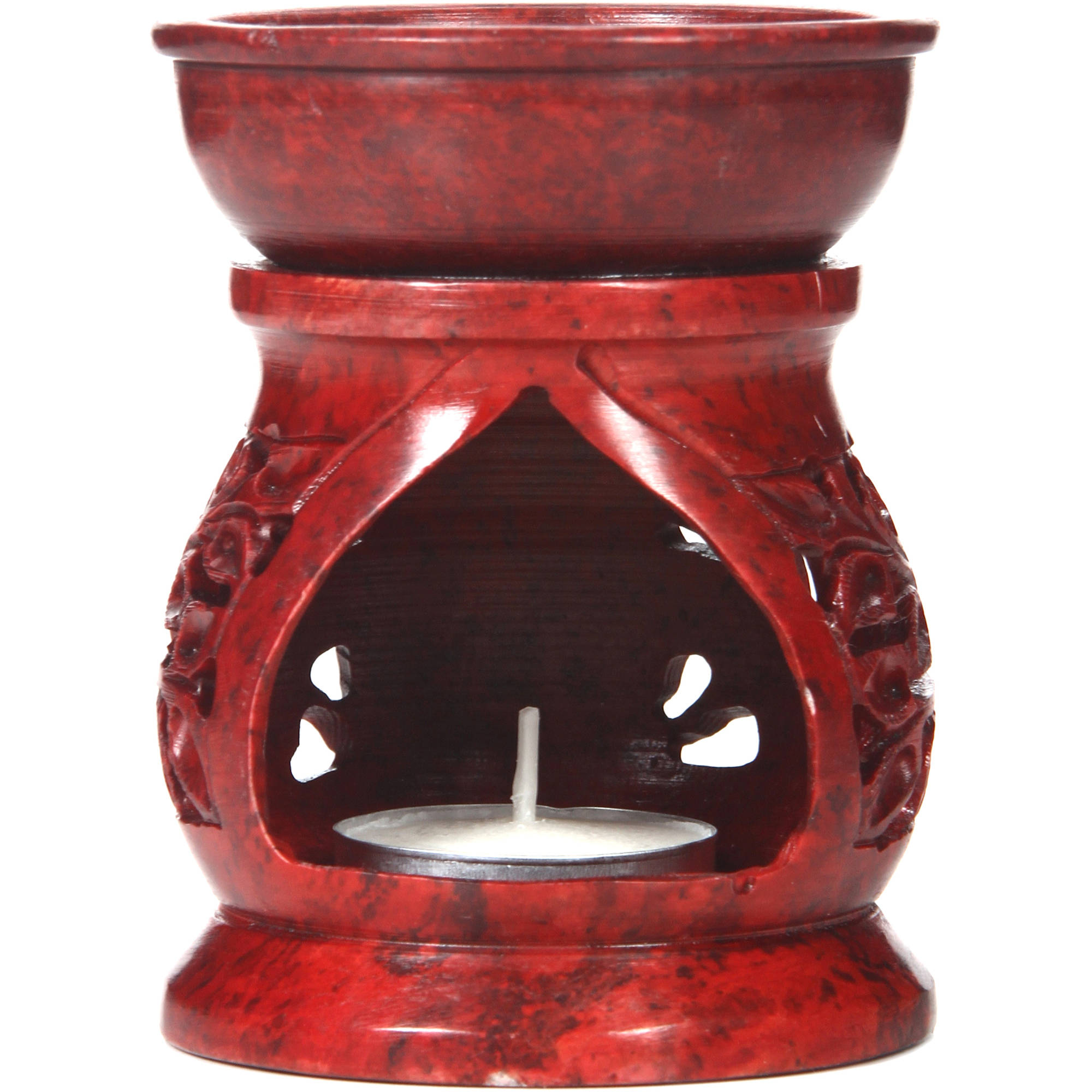 Elegant Expressions Oil Warmer, Round Red Soapstone