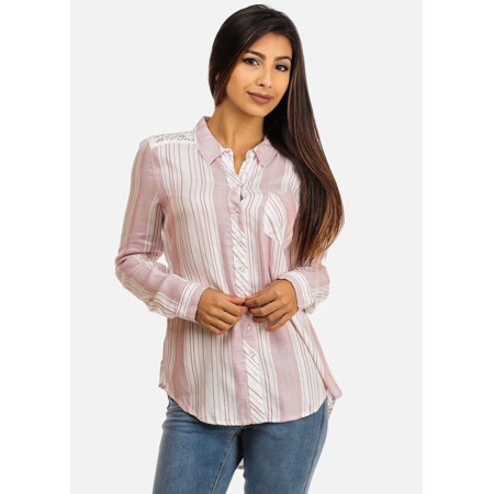 Womens Juniors White And Pink Button Down Shirt Wth Lace