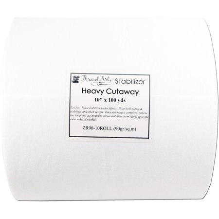 "Threadart Cutaway Machine Embroidery Stabilizer | Heavy Weight 3.2 oz | 10"" x 100 yd Roll"
