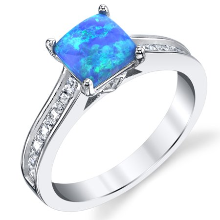 - Sterling Silver 925 Blue Fire Created Opal and Cubic Zirconia Engagement Ring Wedding Band
