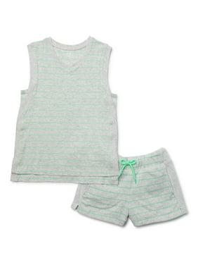 Active Sports Girls 2 Set Singlets Seemfree Stretchy Navy White Striped /& White