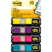Post-it®, MMM6834AB, Colored Small Tape Flags, 140 / Pack, Assorted,Pink,Purple,Yellow,Aqua