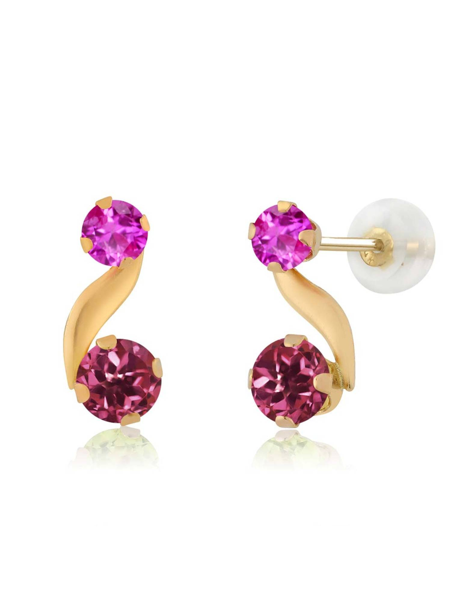 0.74 Ct Round Pink Tourmaline Pink Sapphire 14K Yellow Gold Earrings by