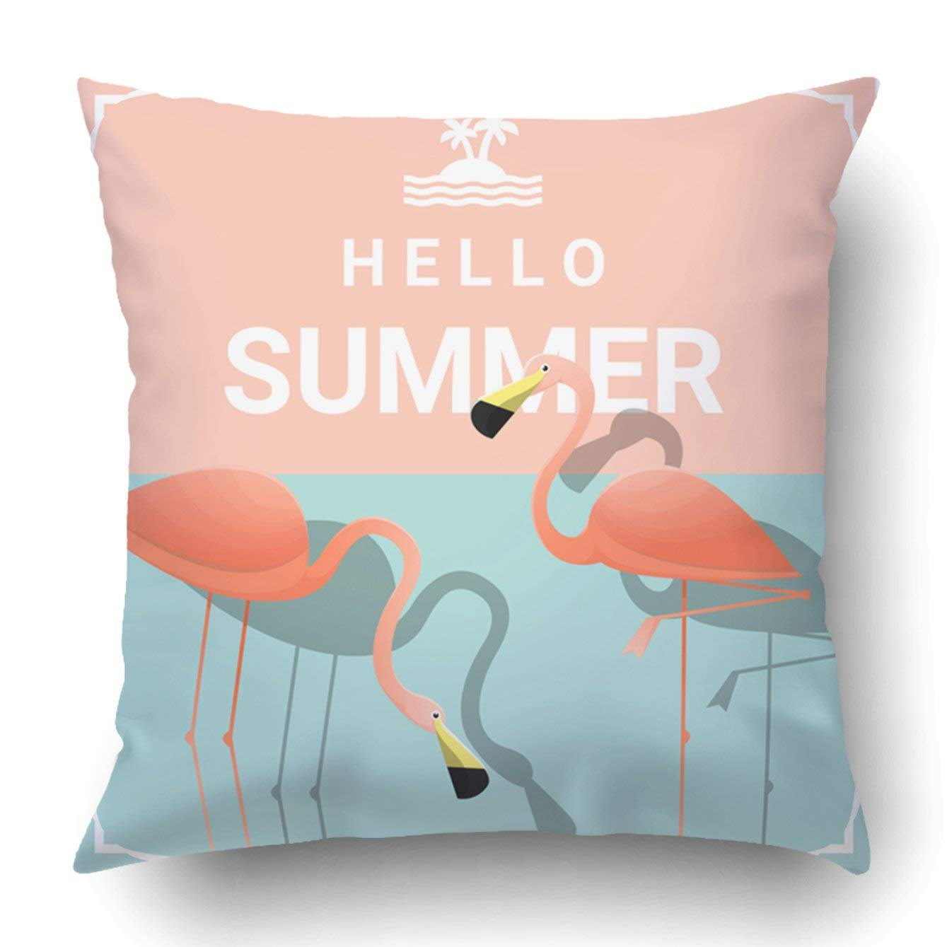 WOPOP Hello summer background with two pink flamingos Pillowcase Throw Pillow Cover Case 20x20 inches