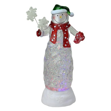 Northlight 11 in. Swirling Glitter LED Lighted Snowman with Gifts - Snowman Led