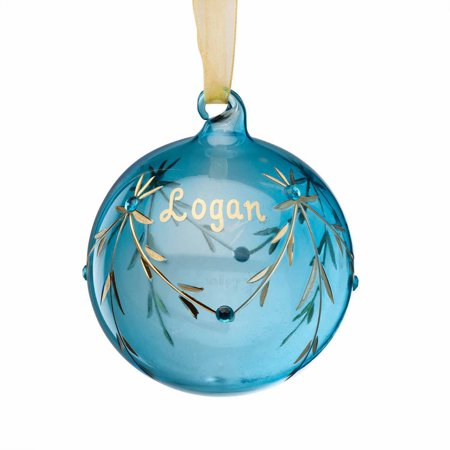 Personalized Glass Christmas Ornament - March Birthstone