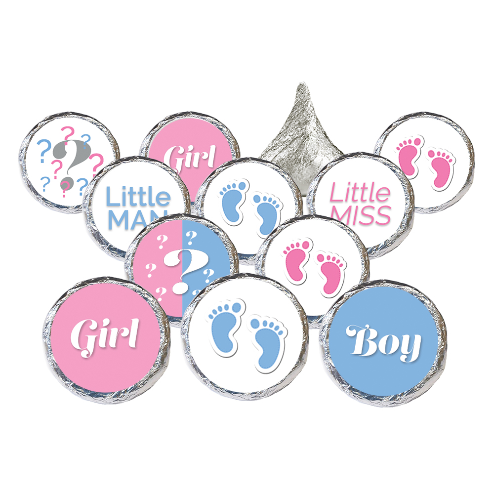 Gender Reveal Party Stickers, 324 count - Boy or Girl Baby Gender Reveal Decorations He or She Gender Reveal Favors Pink and Blue Party Supplies - 324 Count