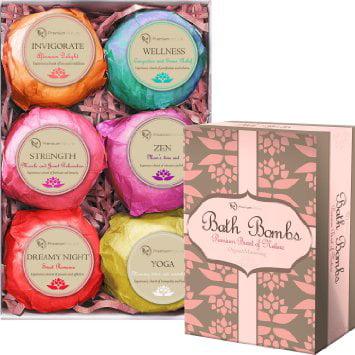 Premium Nature Bath Bombs Lush Gift Set - 6 huile Essentila organique main Spa effervescentes, avec Cocoa et le beurre de karité, la douleur Releives et peau sèche par Hydrate Premium Nature