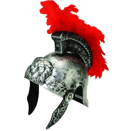 Silver Gladiator Helmet Roman Centurion Spartan Warrior Plastic Costume Armor