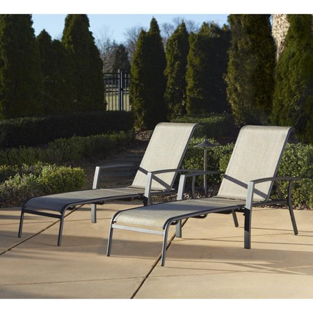 Cosco Outdoor Adjustable Aluminum Chaise Lounge Chair Serene Ridge Set, 2 Pack, Dark -