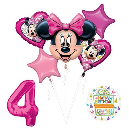 NEW Minnie Mouse 4th Birthday Party Supplies Balloon Bouquet Decorations (Mini Mouse Birthday)