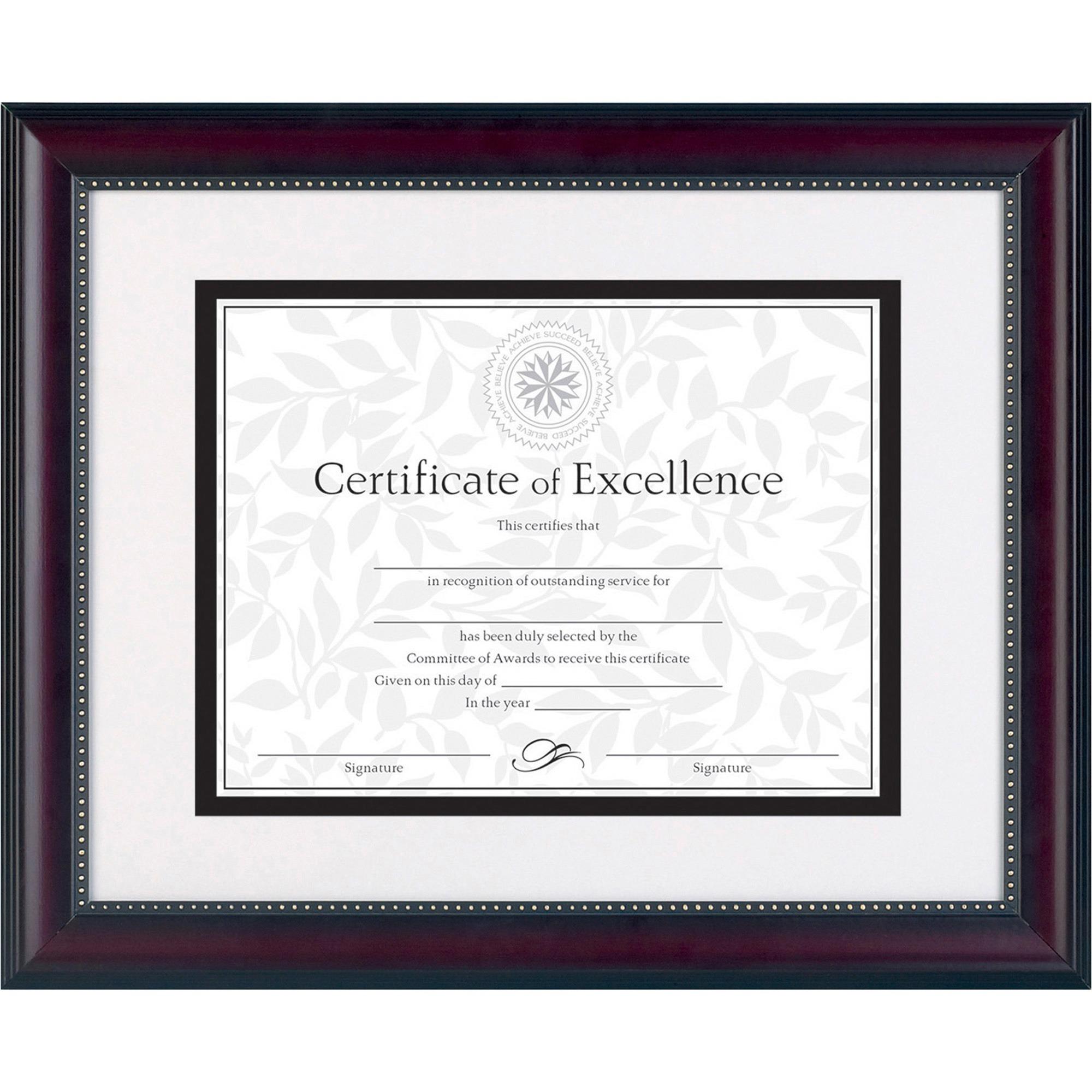 DAX Prestige Document Frame, Matted w/Cert, Rosewood/Black, 11 x 14, 8 1/2 x 11