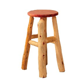 Furniture Barn USA™ Rustic Red Cedar Log Kitchen Stool ()