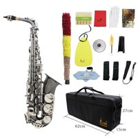 Professional Brass Bend Eb E-flat Alto Saxophone Sax Black Nickel Plating Abalone Shell Keys with Carrying Case Gloves Cleaning Cloth Straps Grease Brush