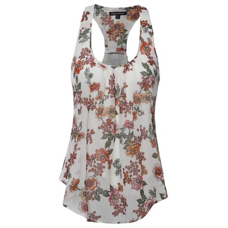 Neck Cami (FashionOutfit Women's Floral Scoop Neck Racerback Cami Tank)