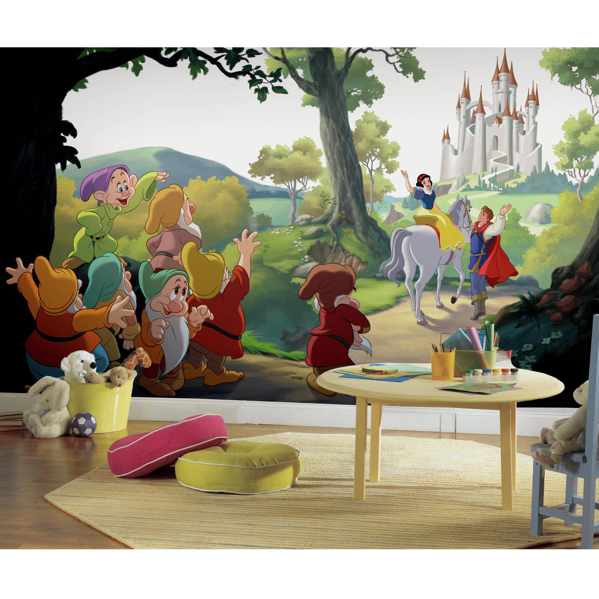 "RoomMates Disney Princess Snow White ""Happily Ever After"" XL Chair Rail Prepasted Ultra-Strippable Mural, 6' x 10.5'"