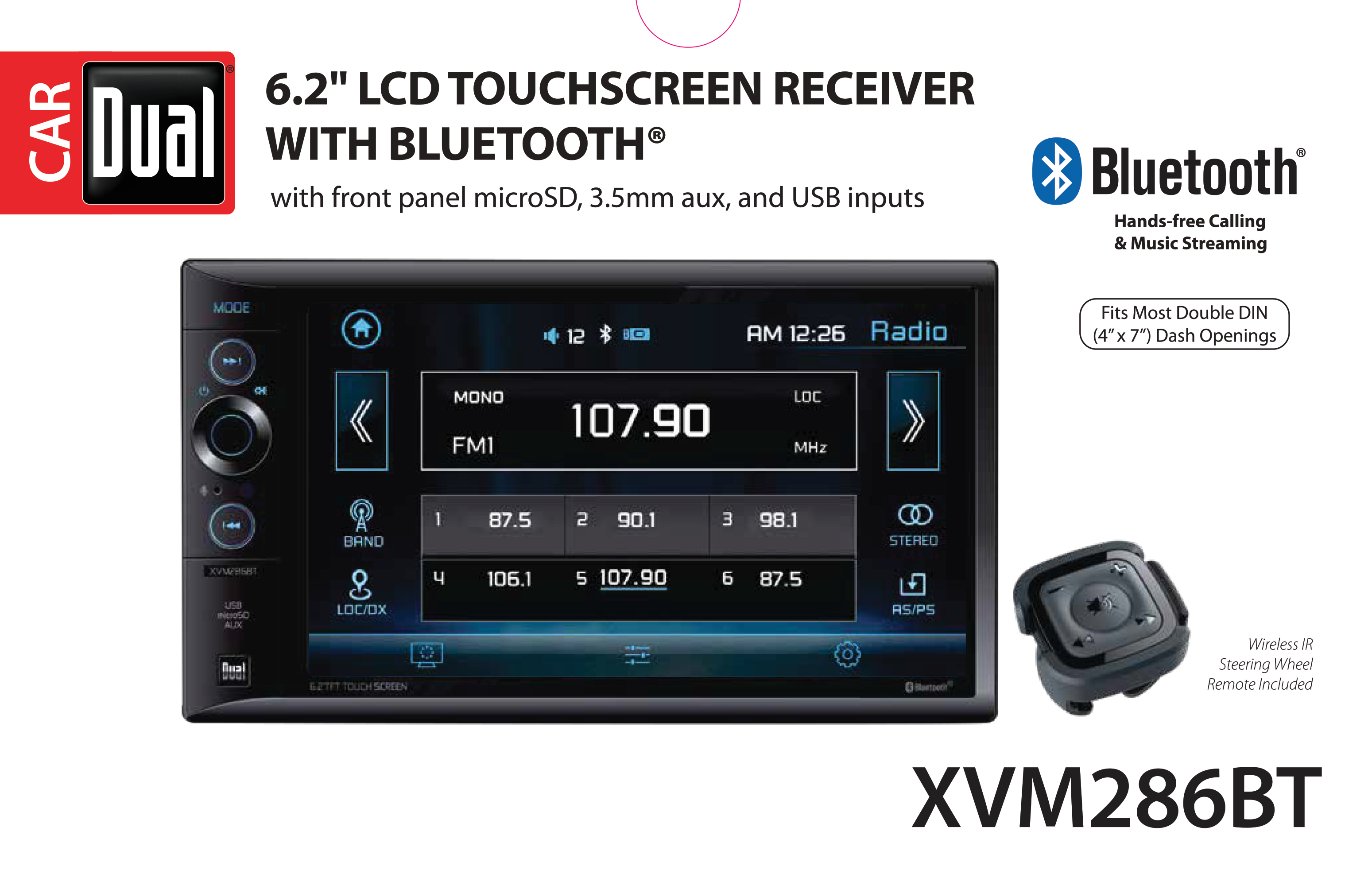 Dual Electronics XVM286BT 6 2 inch LED Backlit LCD Multimedia Touch