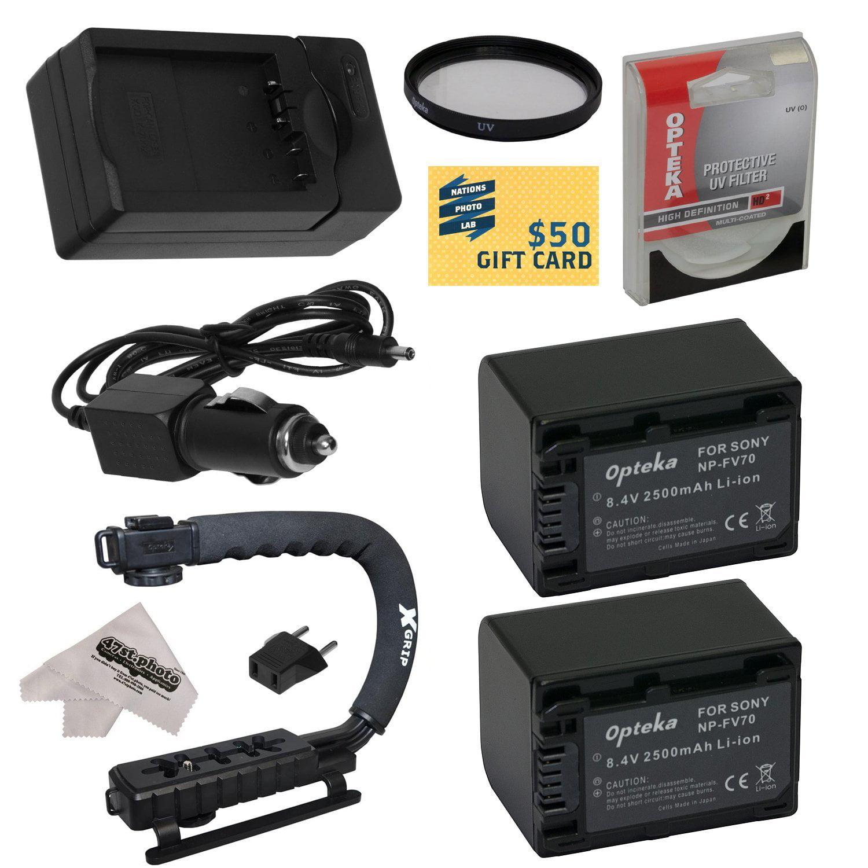2 Opteka NP-FV70 2500mAh Ultra High Capacity Li-ion Battery Packs , Charger For the Sony PJ30V, PJ50V, PJ580V, XR150, XR155, XR350 Camcorder with Opteka X-GRIP, Cleaning Cloth