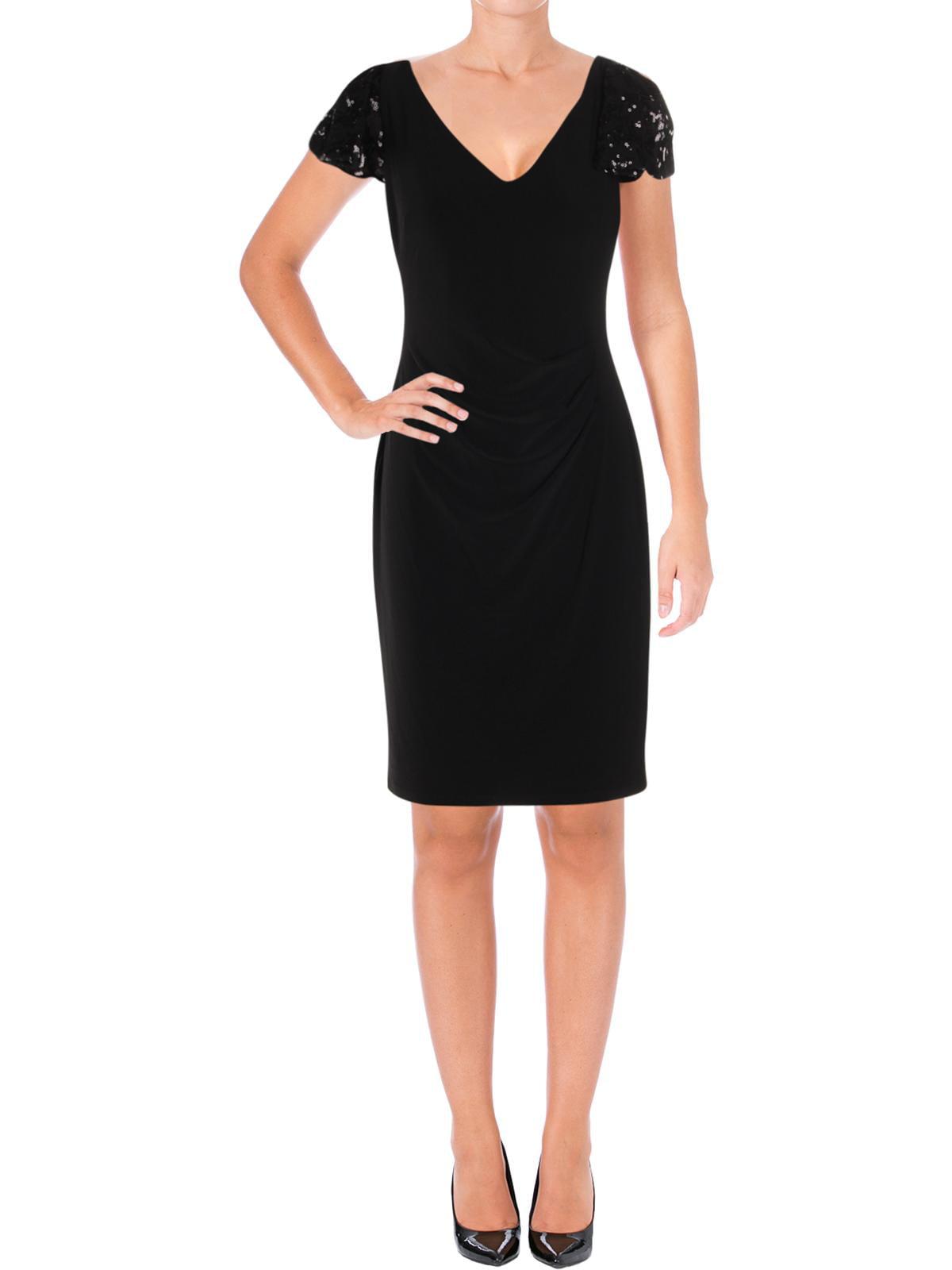 Lauren Ralph Lauren Womens Sequined Flutter Sleeve Cocktail Dress