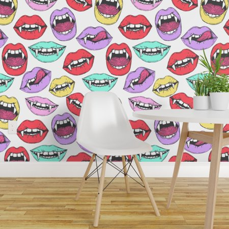 Painted Halloween Lips (Peel-and-Stick Removable Wallpaper Halloween Vampire Lips Pop Art)