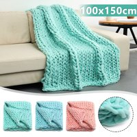 """39x59"""" Hand Chunky Knitted Bed Blanket Thick Bulky Knitting Sofa Throw Rug Child Play Mat"""