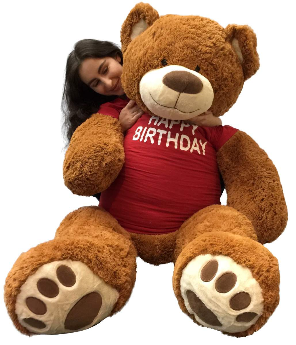 5 Foot Giant Teddy Bear 60 Inches Soft Cookie Dough Brown Color Wears HAPPY BIRTHDAY... by BigPlush