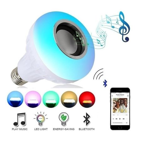 Wireless 12W E27 Led RGB Colorful Changing Mini Bluetooth Speaker Smart Music Audio Bulb Speaker +Remote (Bose Speaker Mini Portable Active Bluetooth Music Player)