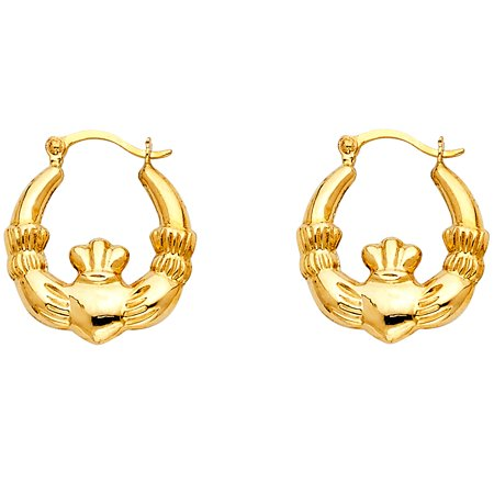 Claddagh Hoop Earrings Solid 14k Yellow Gold Hollow Polished Religious Design Genuine 15 x 15 mm ()
