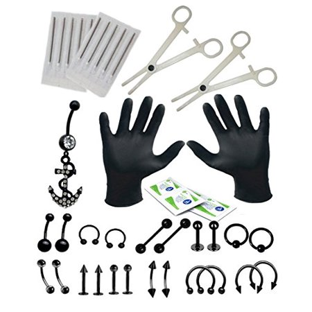 (BodyJ4You 36PCS Professional Piercing Kit Black Steel 14G 16G Anchor Belly Ring Tongue Tragus Nipple Lip Nose Jewelry)