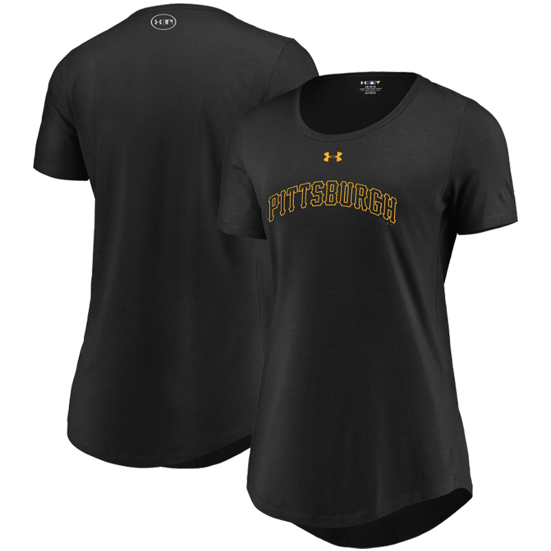 Pittsburgh Pirates Under Armour Women's Passion Road Team Font Scoop Performance Tri-Blend T-Shirt - Black
