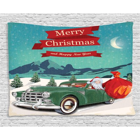 Christmas Decorations Tapestry, Santa in Classic Car with Bag of Toys Snow Winter Starry Night New Year, Wall Hanging for Bedroom Living Room Dorm Decor, 80W X 60L Inches, Teal - New Years Decor Ideas
