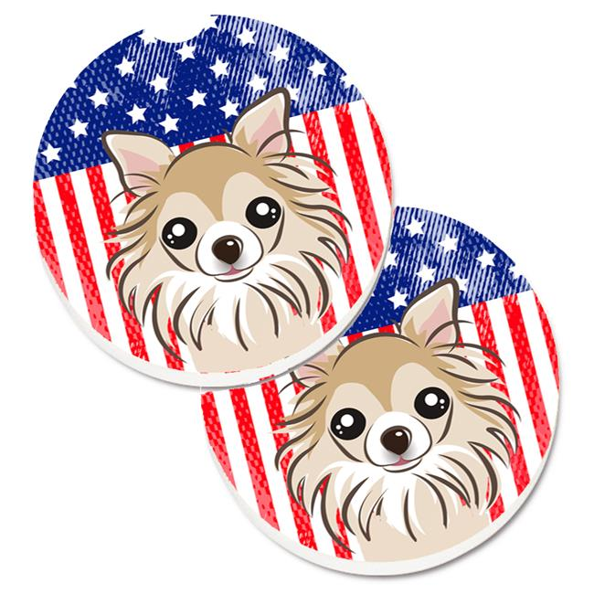 Carolines Treasures BB2181CARC American Flag & Chihuahua Set of 2 Cup Holder Car Coaster - image 1 de 1