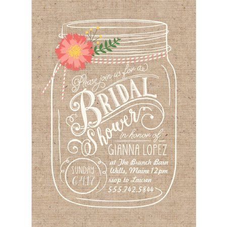 Kitchen Bridal Shower Invitations - Floral Mason Jar Standard Bridal Shower Invitation