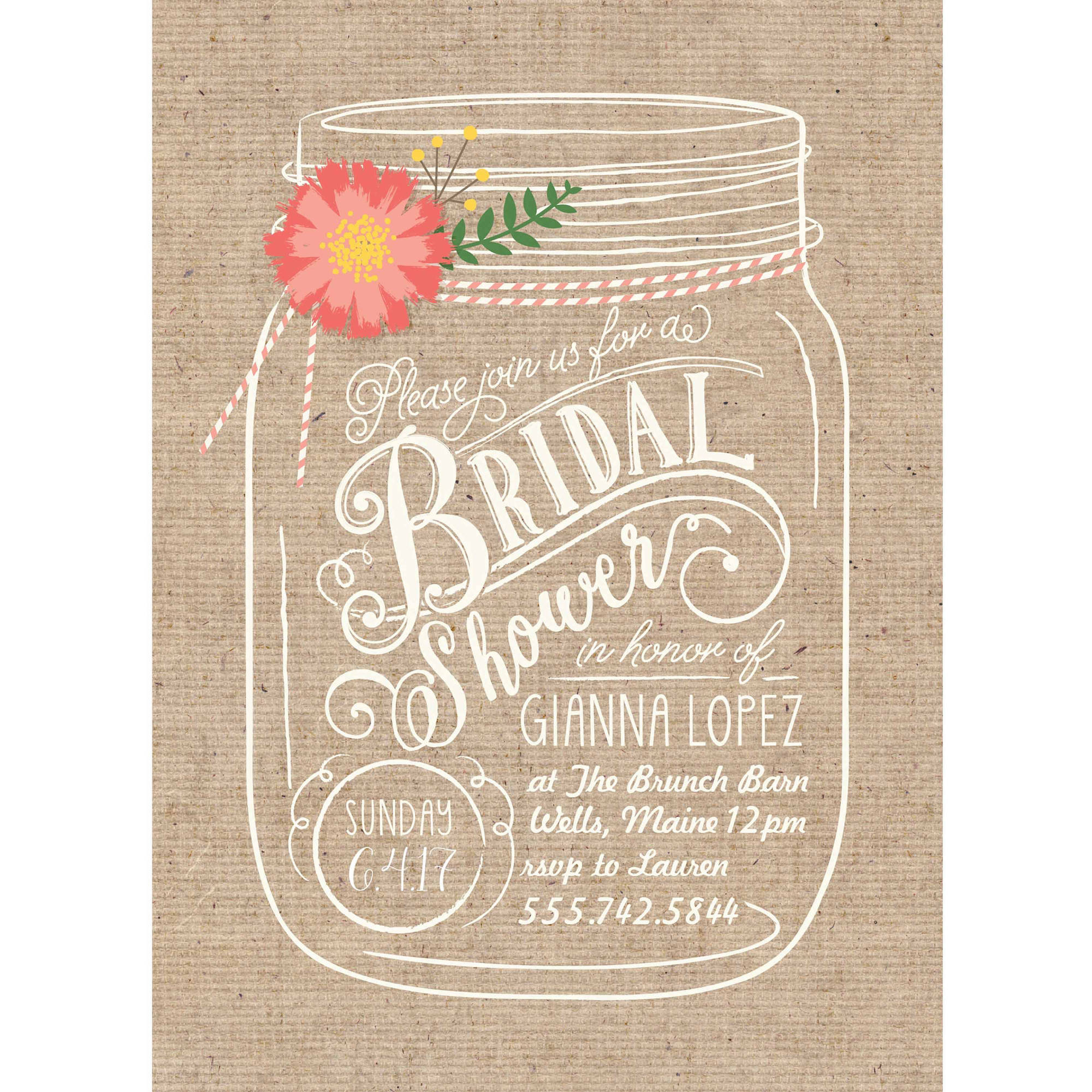 Floral Mason Jar Standard Bridal Shower Invitation