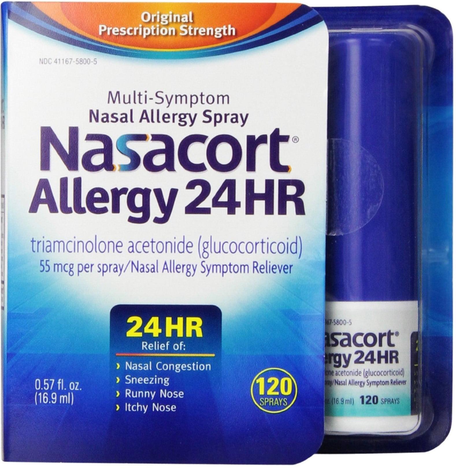 Nasacort Allergy 24 Hour 120 Sprays, 0.57 oz (Pack of 3)